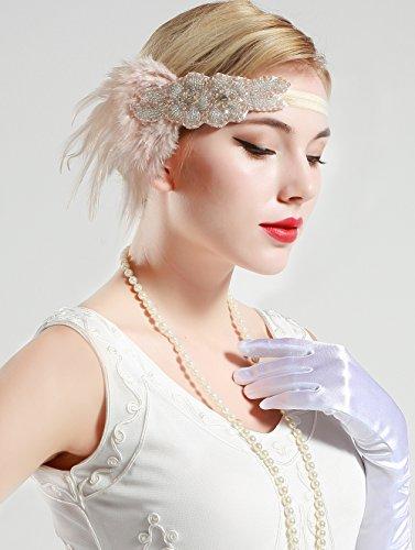 BABEYOND Frauen Kristall Haarband Perlen Stirnband Federn Flapper Stirnband Vintage Stirnband 1920 - 3