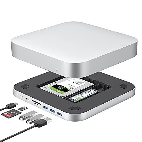 Qwiizlab USB C Hub Hard Drive Enclosure, Fits M.2 NVMe NGFF SSD SATA HDD, Docking Station USB 3.1/3.0 Ports Micro/SD Card Readers, Compatible with 2018/2020 Mac Mini Laptops Desktops
