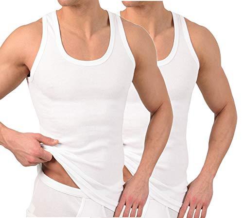 BestSale247 2er oder 4er Pack Herren Classic Unterhemden, Achselhemden, Tank Top, in Weiß Schwarz oder Grau Melange - Feinripp (glatt) -100% Baumwolle (Weiß / 2 Stück, L)