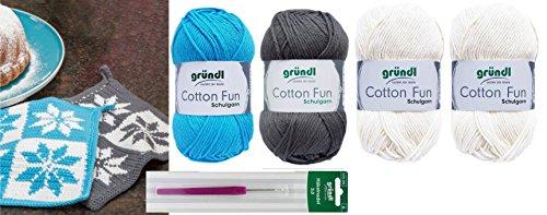 HdK-Versand SB Pack Gründl Cotton Fun Häkelset für Topflappen Inhalt 4x50g Material 100% Baumwolle incl. Gratis Häkelanleitung und Häkelnadel (Norweger Blau Grau)