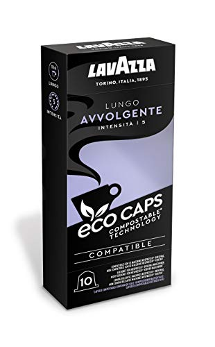 Lavazza Eco Kaffeekapseln - Lungo Avvolgente - Nespresso kompatibel -50 Kapseln - 5er Pack (5 x 53g)