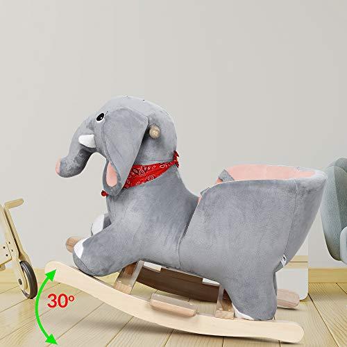 Deuba Schaukelelefant | Schaukeltier Plüsch Schaukel Wippe Pferd Einhorn Kinder Baby Spielzeug | Sound-Geräusche | inkl. Sicherheitsgurt | Balancetraining | besonders weich - 5
