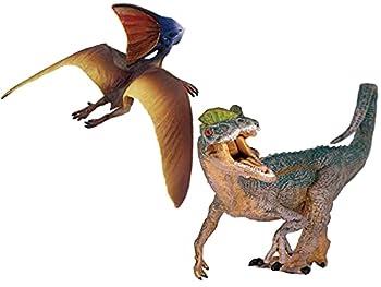 Gemini&Genius Jurassic Park Dinosaur Toys Dilophosaurus and Tapejara Set Flying Dinosaur Pteranodon Figurine Role Play Toys Birthday Gifts Cake Topper Toys Collectionfor Kids  2pcs