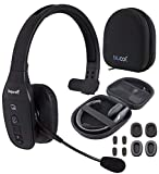 BlueParrott B450-XT Noise Canceling Bluetooth Headset with Push-to-Talk Button for Android and iOS Bundle with Blucoil Headphones Carrying Case, and Replacement Ear Pads