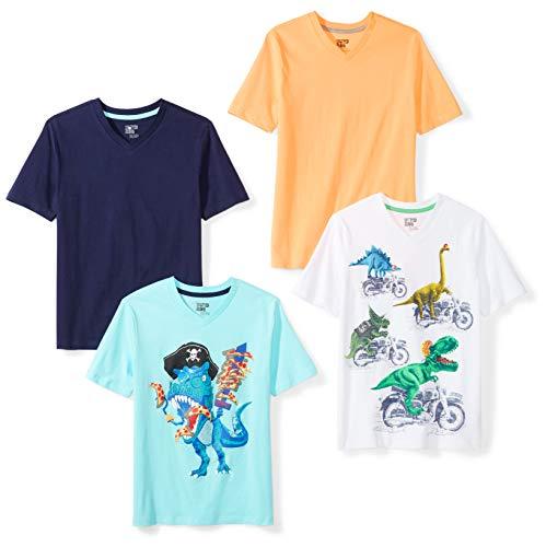 Spotted Zebra Jungen 4-Pack Short-Sleeve V-Neck T-Shirts, mehrfarbig (Dinosaurs), EU 116 CM