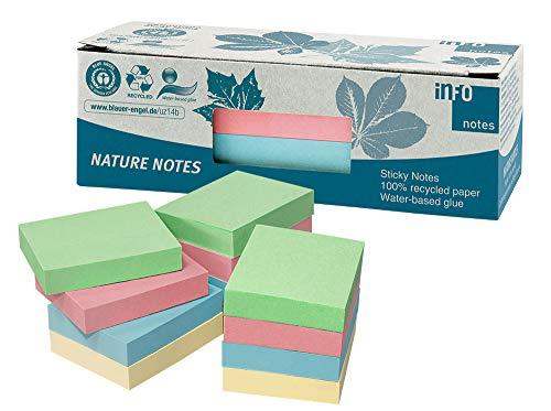 100% Recycling Haftnotizen, pastellmix, 50 x 40mm, zertifiziert mit dem Blauen Engel, 100 Blatt pro Block, 12 Blöcke in Recycling Box verpackt
