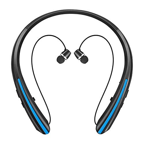 Bluetooth 5.0 Headphones, Wireless Earbuds Retractable Neckband Headset Stereo Sweat-Proof Sports Earphones with Mic Fits iPhone 12/11/X/8, Android and Other Bluetooth Enabled Devices (Black Blue)