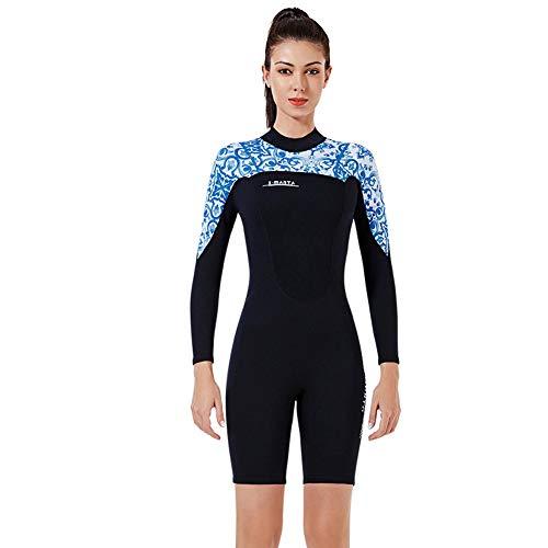 Huanxin Womens Shorty Wetsuit Langarm 3Mm Neopren Zurück Zip Wetsuit One Piece Wetsuit für Surfen Schnorcheln Tauchen,a,M