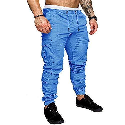 N\P Pantalones de correr para hombre, color negro, para fitness, gimnasio, con bolsillos, tiempo libre azul XXXXL