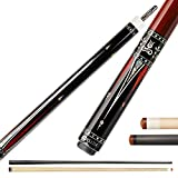 KL-01F Real Wood Inlay Pool Cue Stick with 2 Low Deflection Shafts (1 pc Carbon Fiber Shaft, 1 pc Carbon Tube Inside Wooden Shaft, 4 Pcs Carbon Tubes inside Butt, with Extension) (KL-01FR, 11.75mm)