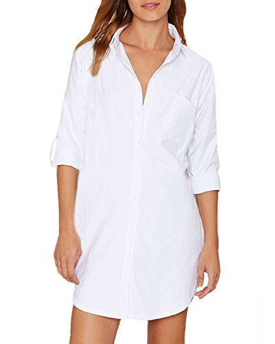 Auxo Damen Blusen 1/2 Arm V-Ausschnitt Longshirts Oversize Strand Hemd Tunika Oberteil Weiß EU 38-40/Etikettgröße M