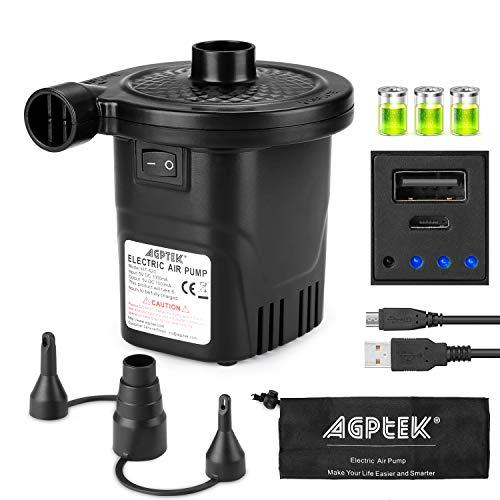 AGPTEK Inflador Recargable, inflador eléctrico llenado rápido con 3 boquillas, inflador Ligero y portátil Recargable Camas o colchones hinchables, Juguetes de Agua y barcas hinchables