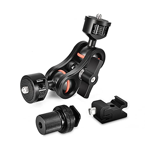 """UTEBIT Double Ballhead Arm 360 Degree Rotation Magic Articulating Arm 1/4"""" Heavy Duty Friction Arms Mount Bracket with Flash Light Hot Shoe + Camera Fixing Screw Adapter for Camera DSLR Monitor Video"""