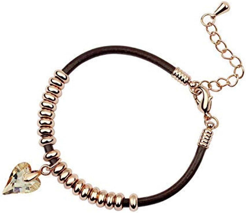 IANXI Home Leng Elegant Pretty Bracelet Extravagance Luxury Elegant Women's European and American Style Retro Jewelry Crystal Bracelet (golden)