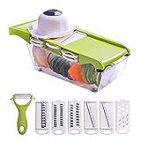 Máquina cortadora de alimentos para cortar verduras picadora manual Máquina cortadora de la máquina de cortar en lonchas Molinillo de queso - La mejor mandolina manual, cuchilla cortadora de 6 cuchill