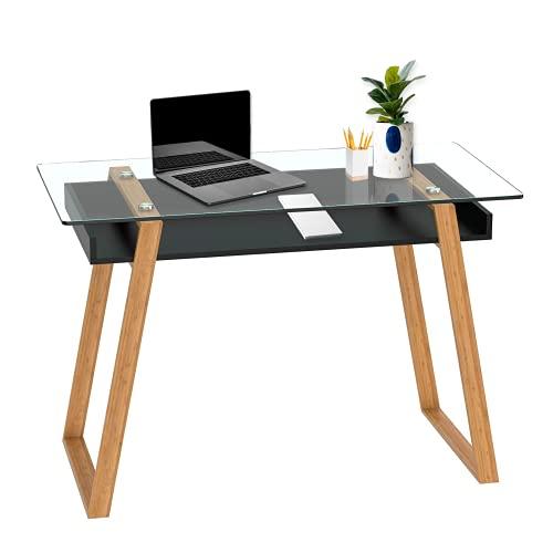 bonVIVO® Escritorio de Diseño Massimo, Secretario Moderno Combinado con Cristal, Madera Natural y Estantes Lacados en un Diseño Contemporáneo