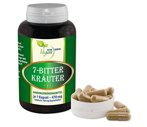 VITAIDEAL VEGAN® 7 Bitter Kräuter 180 pflanzliche Kapseln, je 470mg. Pulver gemahlen von Bibernellwurzel, Wermut, Schafgarben, Fenchel, Kümmel, Anis, Wacholderbeeren, rein natürlich ohne Zusatzstoffe.