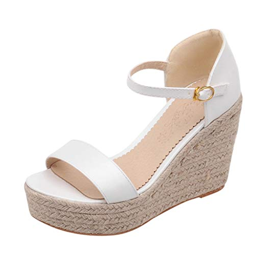 Best Deals! KCPer Womens Sandals Open Toe Ankle Strap Straw Casual Espadrilles Wedge Platform Thick ...