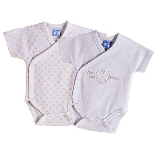 Amomí Body Bebé Niña Cruzado para Recién Nacido Manga Corta Pack de 2Pcs 0 Mes 100% Algodón (0 Mes, 07614)