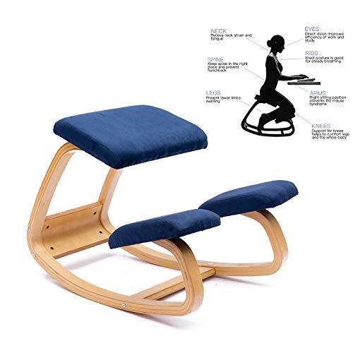 ENMSPLUS Ergonomischer Kniestuhl Bürostuhl kniender Hocker Wirbelsäulen korrektur Stuhl-Multi Farben (Wildleder Blau)