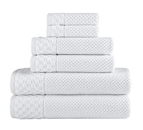 Classic Turkish Towels - Soft Textured and Quick Dry - 6 Piece Luxury White Towels for bathroom - 100% Turkish Cotton - 2 Bath Towels, 2 Washcloths and 2 Hand Towels set