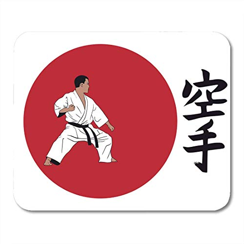 AOHOT Mauspads Green Basic Hieroglyph of Karate and Men Demonstrating Inscription on is Japanese Black Mouse pad Mats 9.5