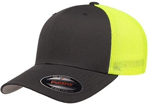 Flexfit Trucker Mesh Fitted Cap-2-Tone, Charcoal/Neon Yellow, OS