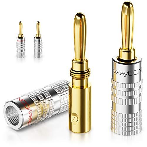 deleyCON 4x Set di Connettori a Banana Rivestiti in Oro a Vite per Altoparlanti da 0,75mm a 4mm e ad es. Ricevitori Audio