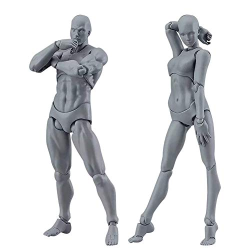 RXING Actionfigur Modell Mensch Mannequin Mann und Frau Set, Zeichenfiguren für Künstler mit Zubehör Kit zum Skizzieren, Malen, Zeichnen, Künstler