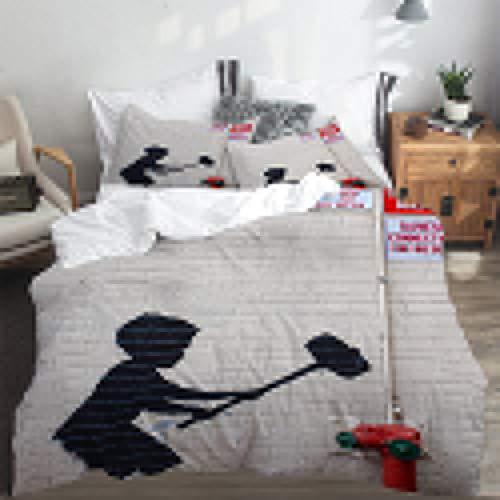PANILUR duvet cover,Banksy Graffiti Art Hammer Boy Style Printing,Duvet Cover 135x200cm PillowCases 2(50x80cm)