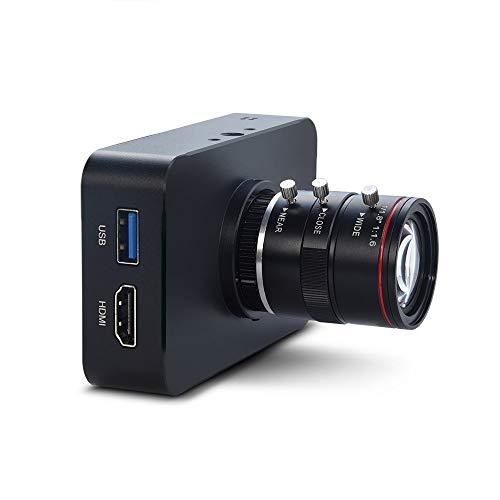 MOKOSE 12MP HDMI Camera 1080P USB HD Streaming Teaching Webcam, Recording 4K@30FPS Industry C/CS-Mount Camera with 6-12mm No Distortion Manual Zoom Lens
