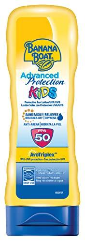Banana Boat KIDS Advanced Protection - Loción Solar Protectora para Niños con Protección SPF 50, Fórmula Anti-Arena y muy Resistente al Agua, Crema Solar 180 ml