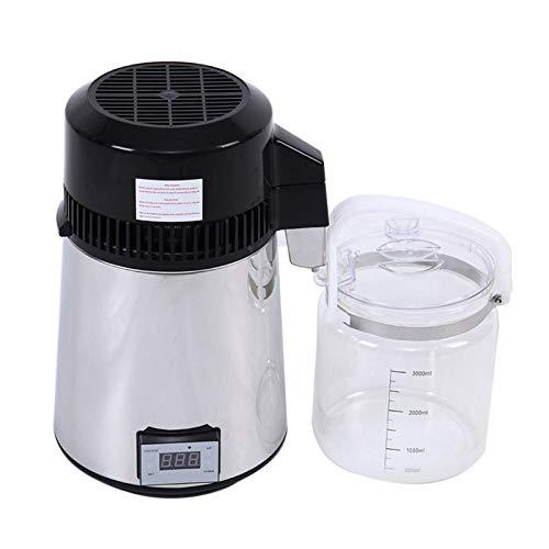 800W Wasser-Destillierapparat, 4 L Destilliertes Wasser, Die Maschine Mit Regelbarer Temperatur Innenwand Aus Edelstahl Wasserdestillation Polypropylen Karaffe Und Effektivste VOC-Entfernung,220v