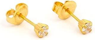 Ear Piercing Earrings Gold Mini 3mm Clear CZ Studs