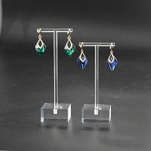 N\C Soporte de acrílico para aretes, organizador de joyas en forma de T, soporte cuadrado para collares, pulseras, pendientes y anillos (2 unidades)