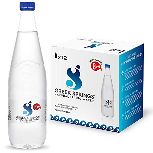 GREEK SPRINGS Naturally Alkaline Spring Water - Natural pH 8 Level, Case of 12, Large 1 Liter Plastic Bottles, Electrolytes & Minerals - Bottled at Mount Psiloritis, Greece - Pure w/ Zero Additives - Keeps you Balanced