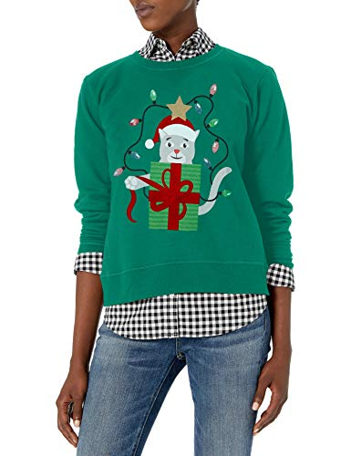 Hanes Women's Ugly Christmas Sweatshirt, Emerald Night/Crazy Catmas, Small