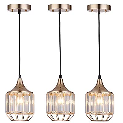 Cuaulans 3 Pack Caged Modern Crystal Pendant Light, Gold Finish Ceiling Hanging Pendant Lighting Fixture with Adjustable Cord for Dining Room Kitchen Island Bedroom Bathroom Bar