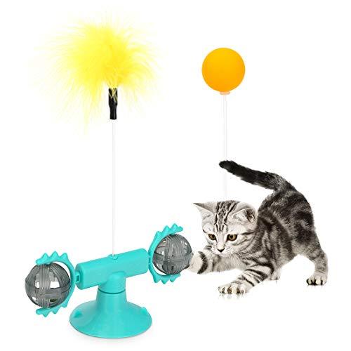 peinat 360° Windmühle Katzenspielzeug, Spielzeug Katzen Beschäftigung mit Katzenminze, Drehbare Katzen Spielzeug mit Saugnapf, Puzzle Katzenspielzeug mit Interaktiver Feder und Ball