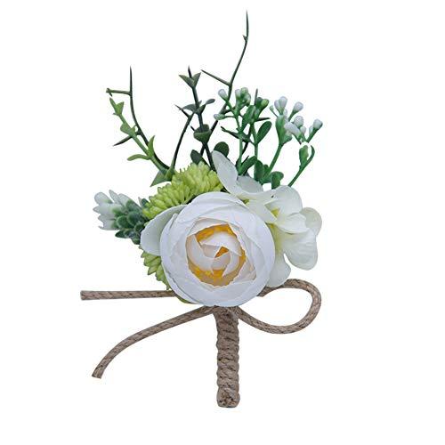 Qinlee Boutonniere Fleur Corsage Homme Broches de Mariage Fleur Rose pour Hommes Fête d'anniversaire Costumes Mode Femmes Hommes Mariage 11cm*10cm Blanc