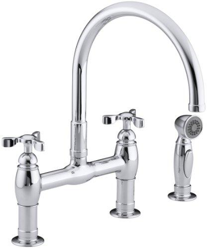 Big Sale Best Cheap Deals KOHLER K-6131-3-CP Parq Deck-Mount Kitchen Faucet with Spray, Polished Chrome