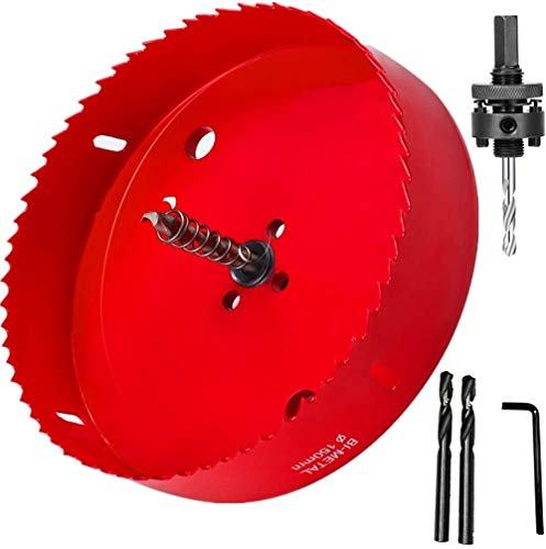 6-3/8 Inch Hole Saw with Heavy Duty Arbor for Can Light Recessed Light, 1-1/2 Inch Cutting Depth HSS Bi-Metal Hole Cutter, Smoothly Cutting in Wood, Plastic, Drywall and Metal Sheet (6-3/8 Inch)