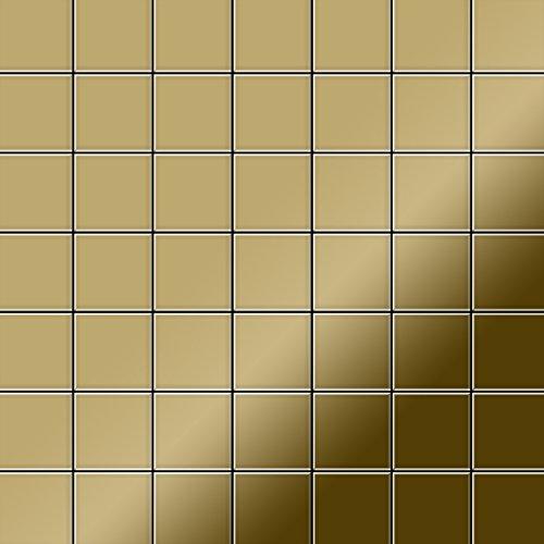 Mozaïektegels massief metaal titaan Gold hoogglanzend goud 1,6 mm dik ALLOY Attica-Ti-GM