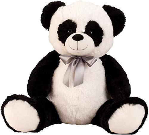 Lifestyle & More Big Panda Peluche Orso Grande Orso di Peluche con L'Arco per L'Amore in Bianco / Nero Altezza 80 cm