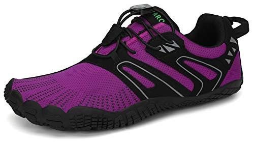 SAGUARO Mujer Barefoot Zapatillas de Trail Running Zapatos Minimalista de Deporte Cómodas Ligeras Calzado de Correr en Montaña, Iris Morado 38 EU