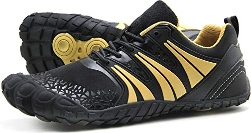 Oranginer Men's Cross Training Shoes Lightweight Five Fingers Barefoot Shoes for Walking Running Black/Gold Size 8.5