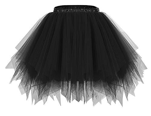 bridesmay Damen Tüllrock 50er Tütü Rock Kurz Ballett Unterrock Karneval Kostüm Crinoline Petticoat Tutu Schwarz Black M