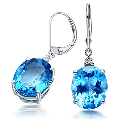 Daesar Orecchini Oro Bianco 18K (750) 12ct Topazio Blu Forma Ovale Orecchini Donna Argento Diamante Orecchini in Oro Bianco Donnaorecchini Dorati Eleganti
