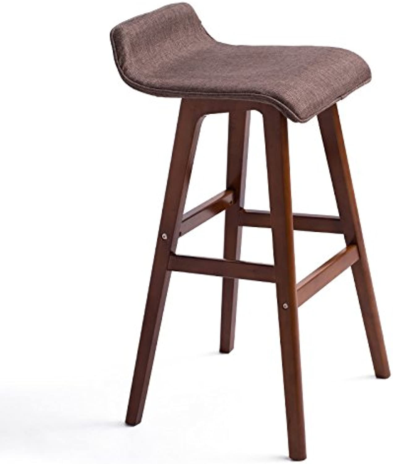 MEIDUO Chairs Bar Stool and Wooden Frame Comfortable Backrest & Footrest Brown 2 Sizes (color   B, Size   404065cm)