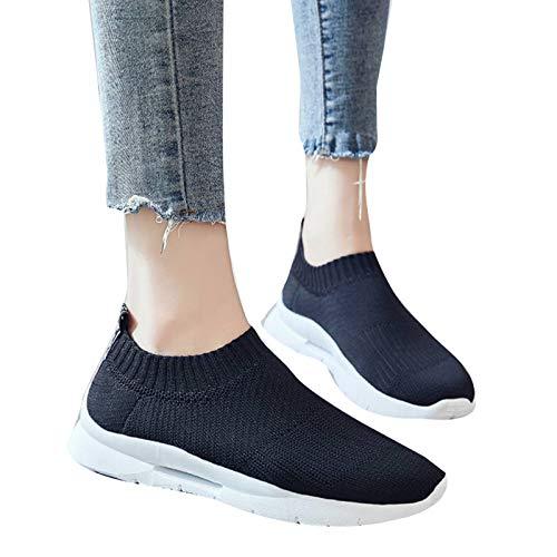 Dingyue Zapatillas de deporte casuales ligeras para mujer con superficie de malla transpirable de tejido gruesa suela de goma para correr y gimnasio